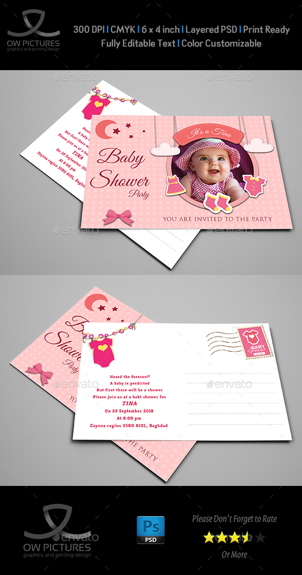 Baby Shower Party Postcard Template Vol.4 - Cards & Invites Print Templates