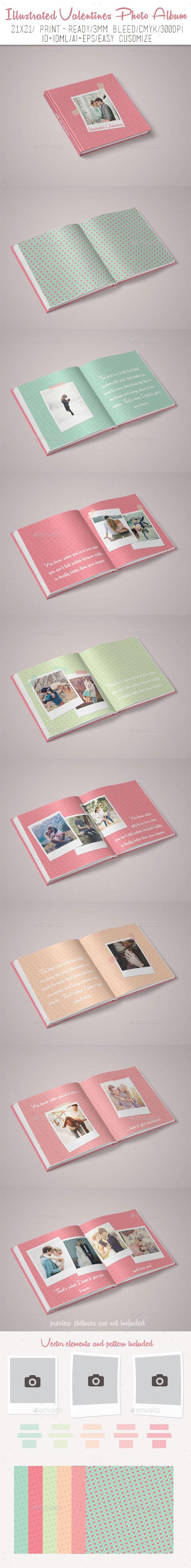 Illustrated Valentines Photo Album - Photo Albums Print Templates