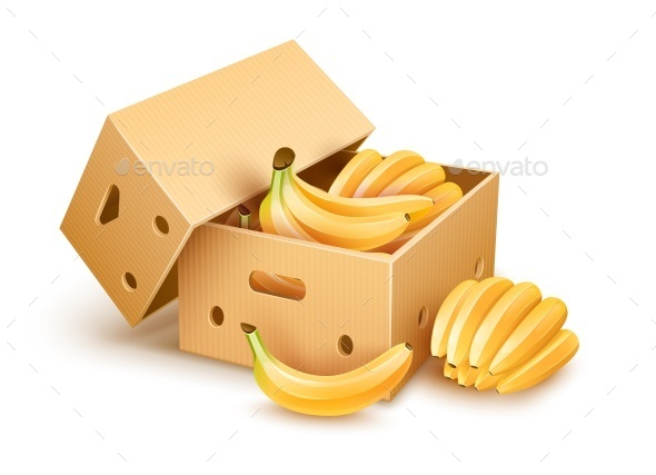 Cardboard Box with Banana Fruits - Food Objects