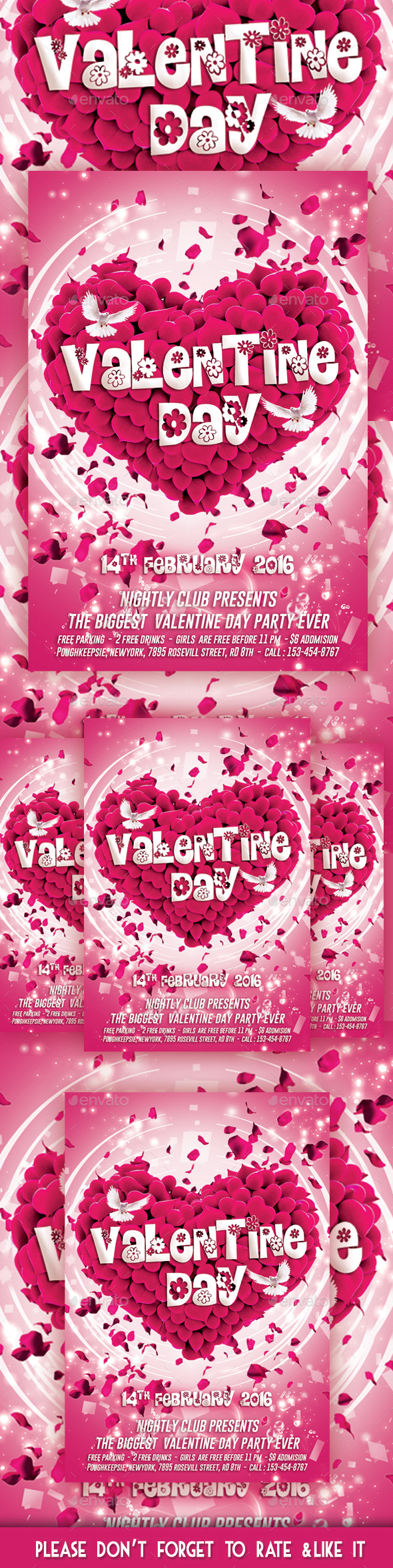 Valentine Day Party Flyer - Flyers Print Templates