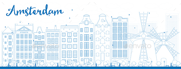 Outline Amsterdam City Skyline with Blue Buildings. - Buildings Objects
