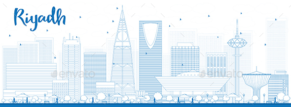 Outline Riyadh Skyline with Blue Buildings. - Buildings Objects