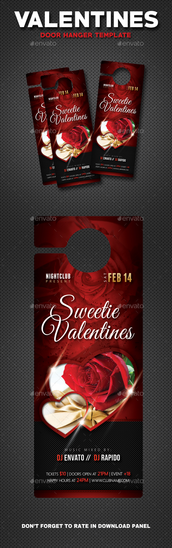 Valentines Day Club Party Door Hanger - Miscellaneous Print Templates
