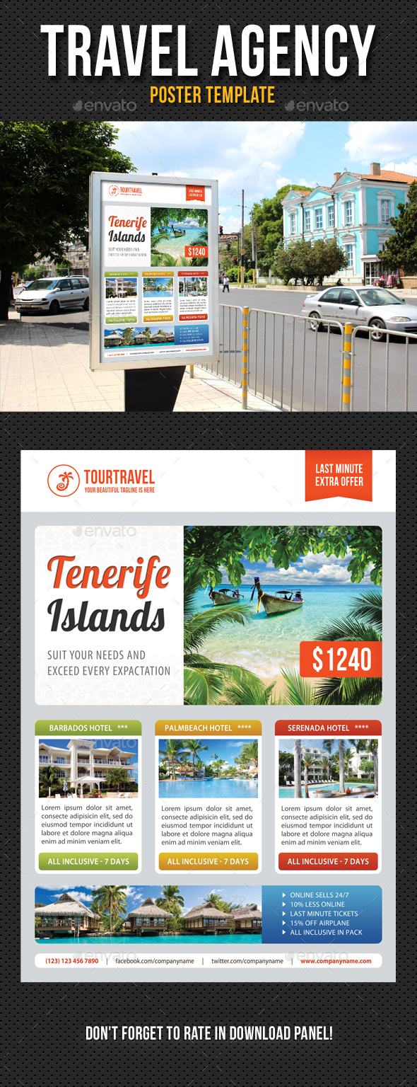 Travel Agency Poster Template V03 - Signage Print Templates