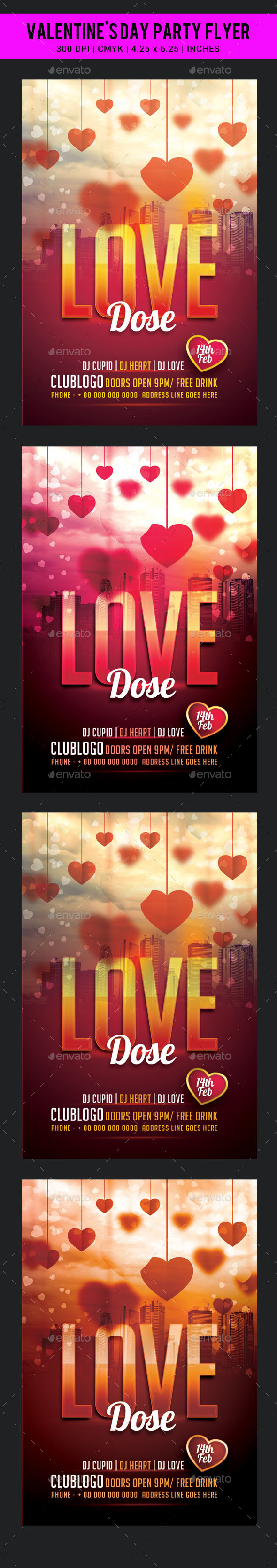 Valentine's Day Party Flyer Template - Clubs & Parties Events