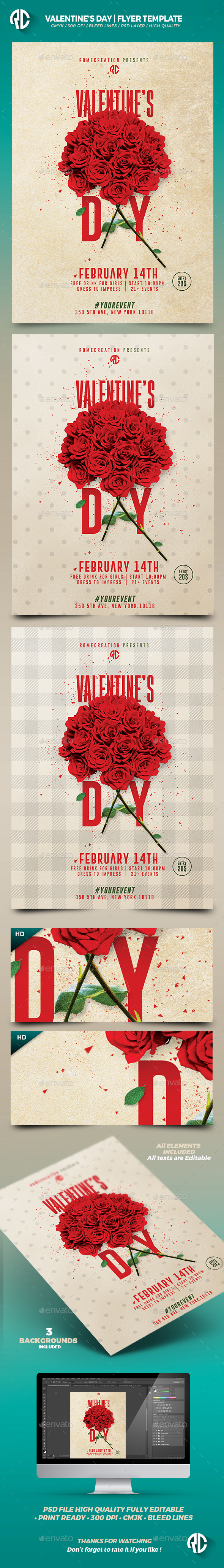 Valentine's Day | Psd Print Template  - Flyers Print Templates