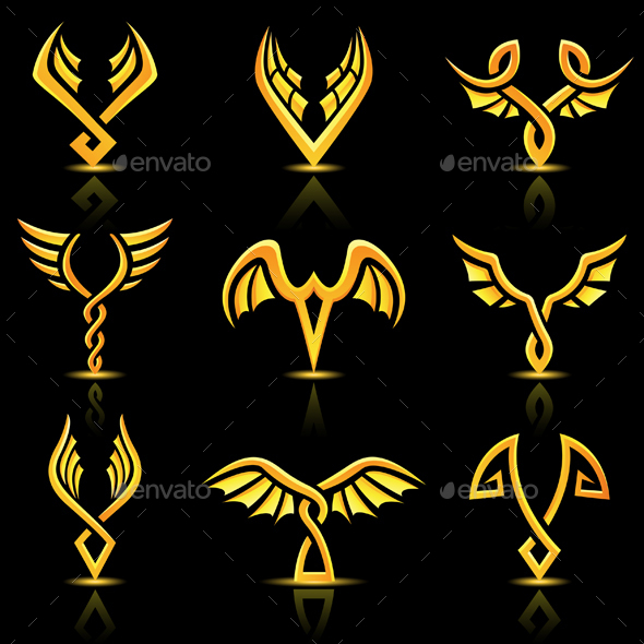 Golden Abstract Wings Icons  - Abstract Conceptual