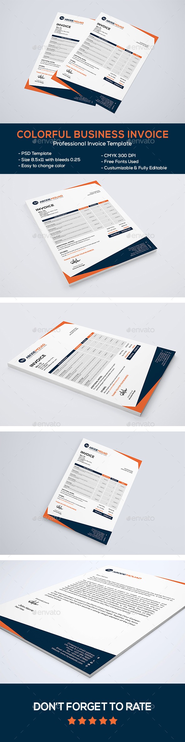 Colorful Business Letterhead - Proposals & Invoices Stationery
