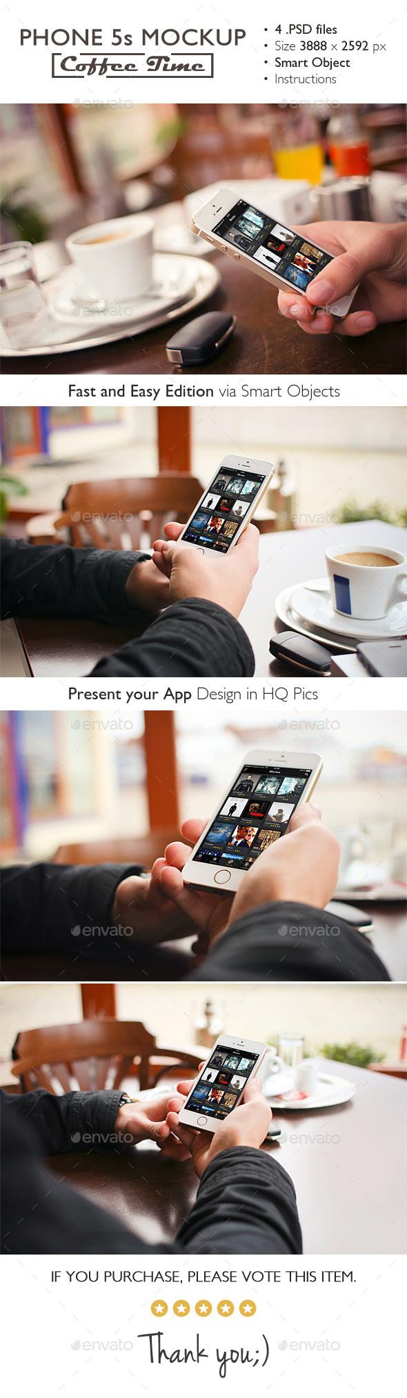 Phone 5s Mockup Coffee Time - Mobile Displays