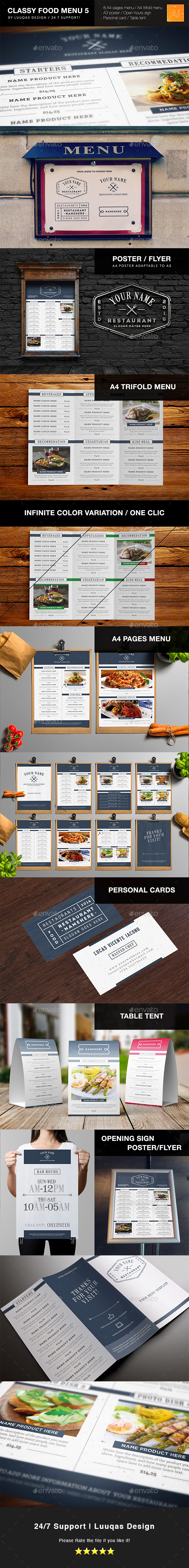 Classy Food Menu 5 - Food Menus Print Templates