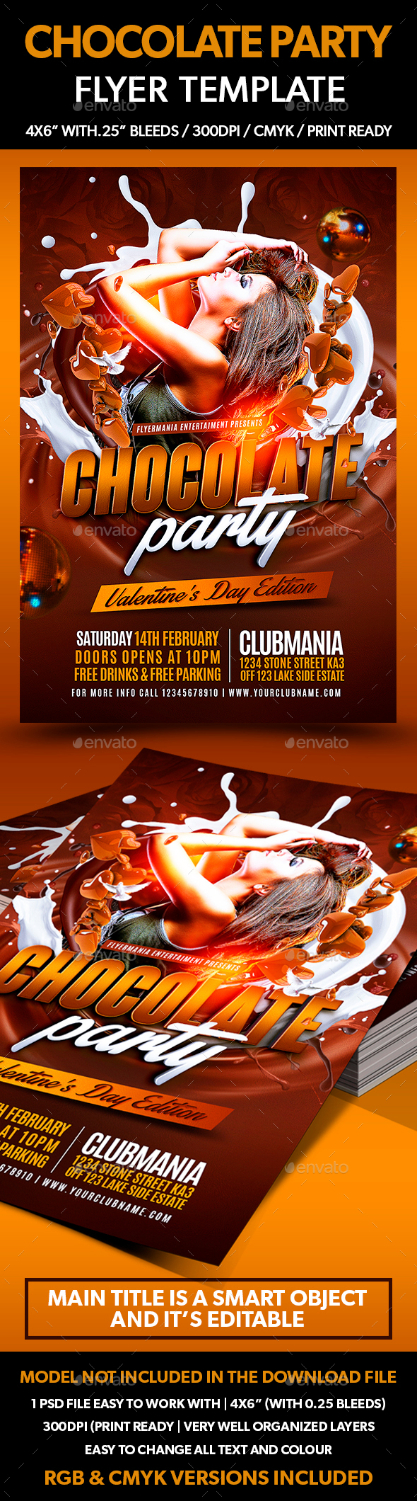 Chocolate Party Flyer Template - Clubs & Parties Events
