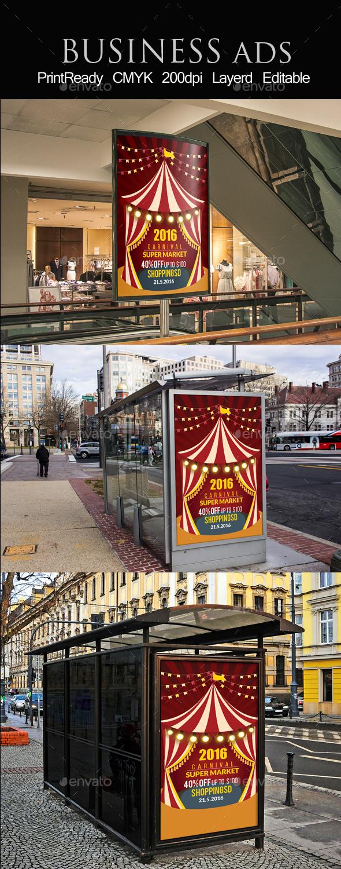 Circus & Carnival Bus Stop Ad Banner - Signage Print Templates