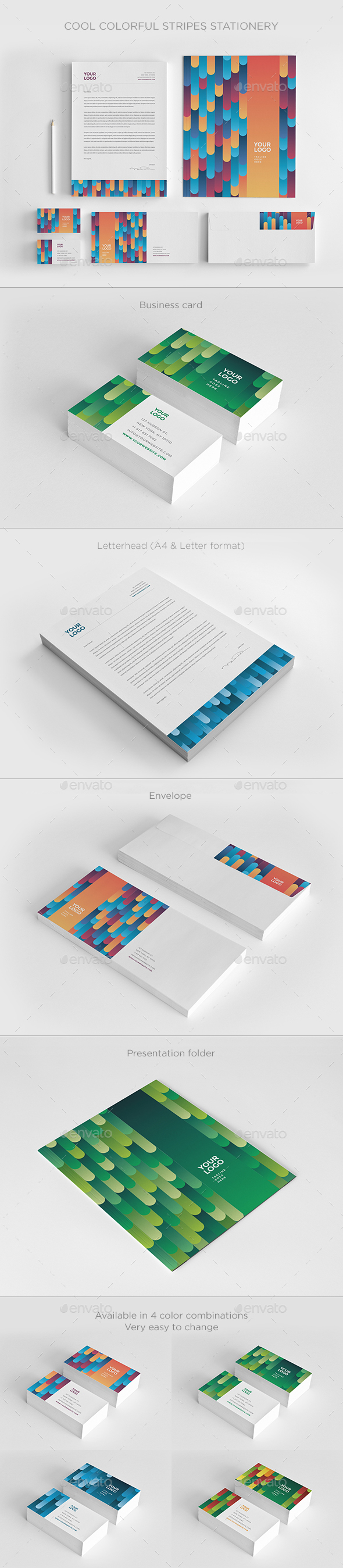 Cool Colorful Stripes Stationery - Stationery Print Templates