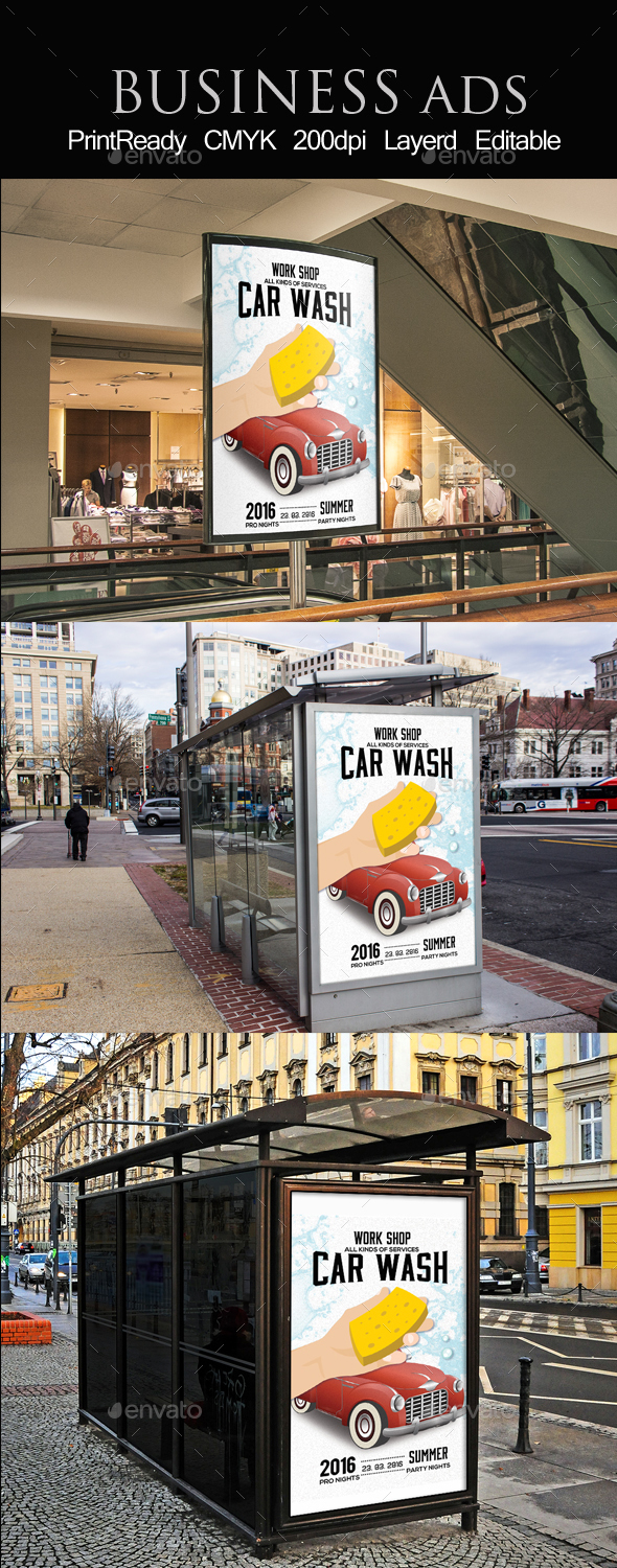 Car Wash Outdoor Bus Stop Ad - Signage Print Templates