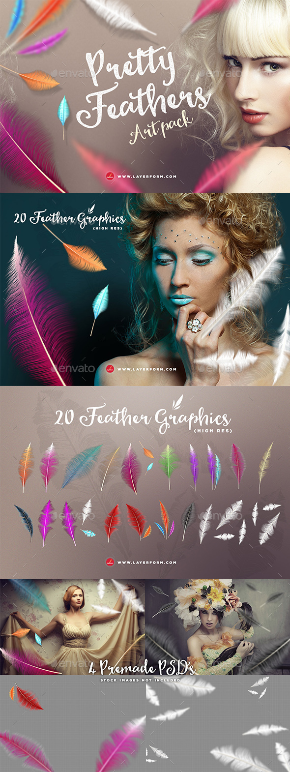 Pretty Feathers Art Pack - Objects Illustrations