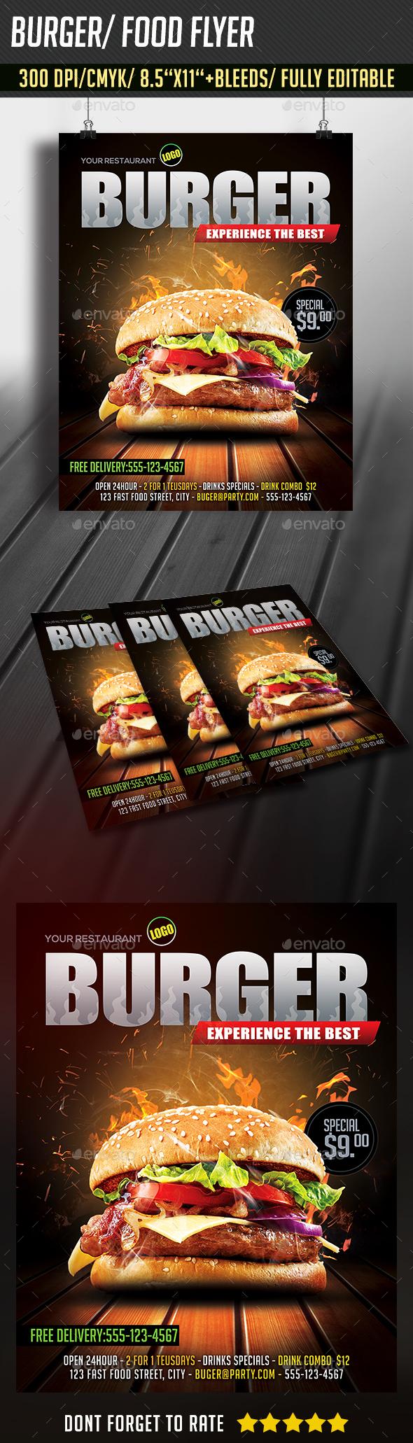 Burger/ Food Flyer - Restaurant Flyers