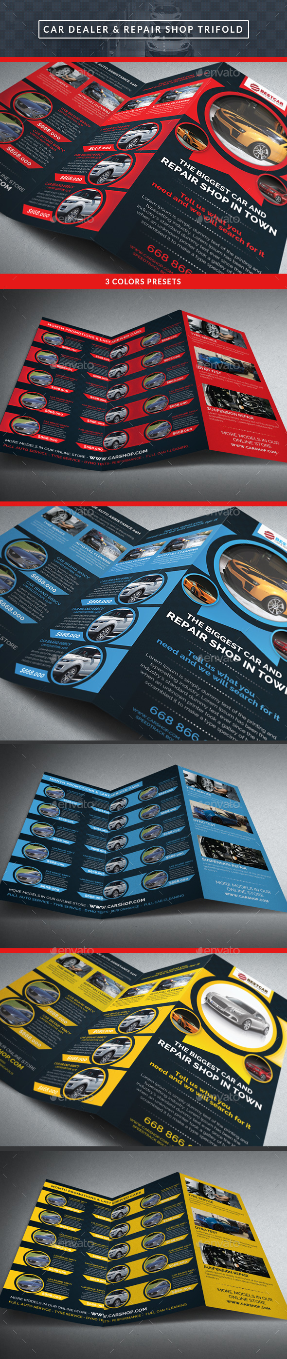 Car Dealer & Auto Services Trifold Brochure - Brochures Print Templates