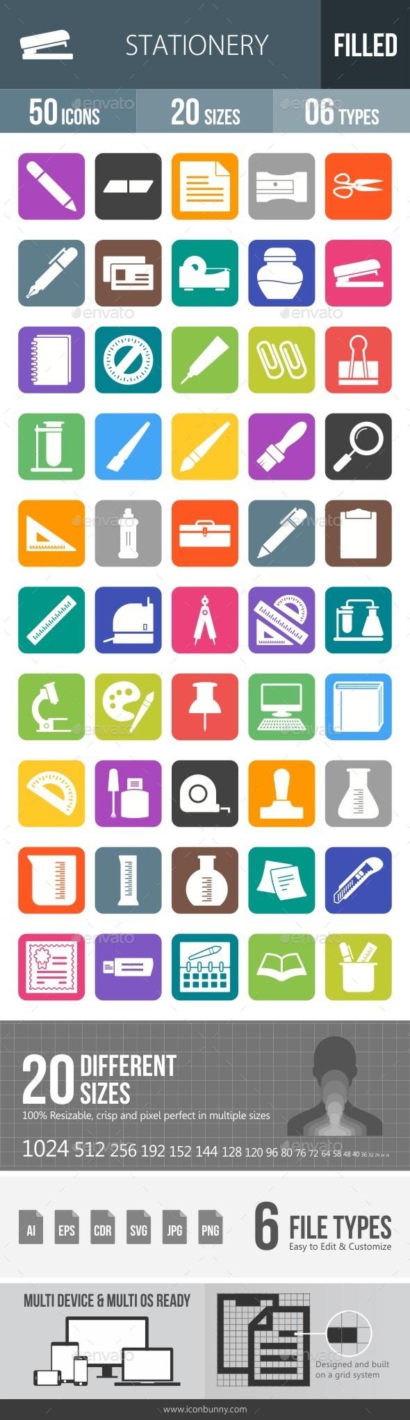 Stationery Flat Round Corner Icons - Icons