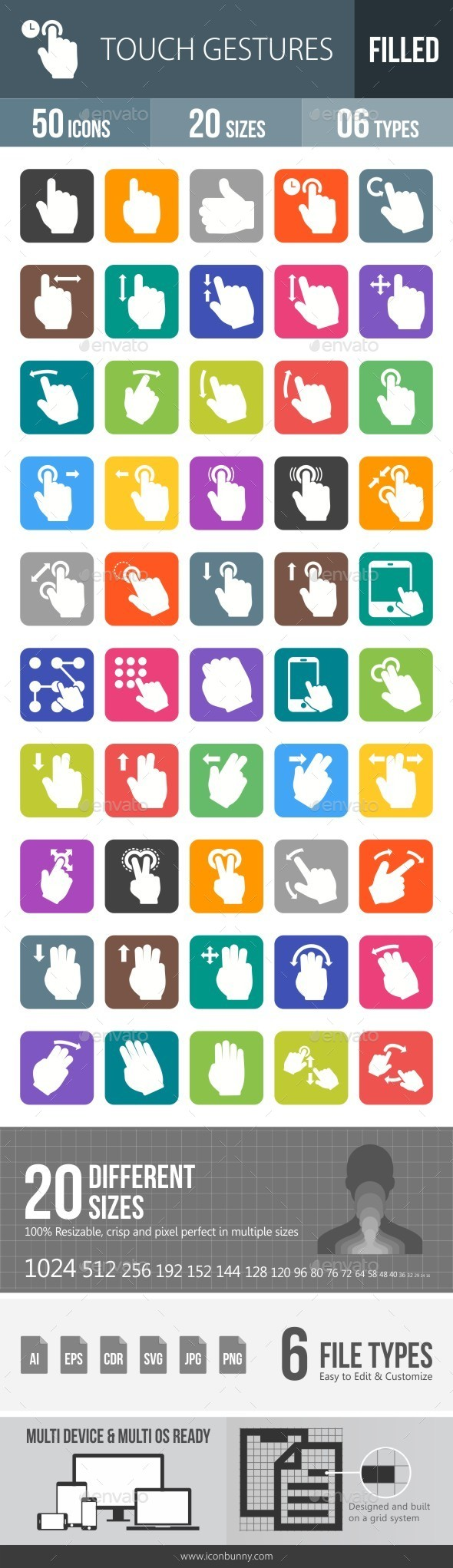 Touch Gestures Flat Round Corner Icons - Icons