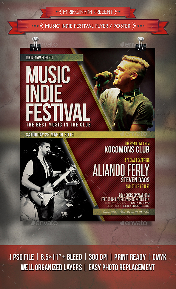 Music Indie Festival Flyer / Poster - Events Flyers
