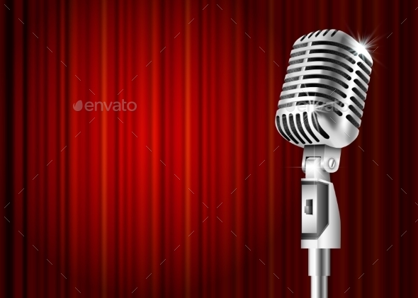 Microphone And Red Curtain  - Man-made Objects Objects