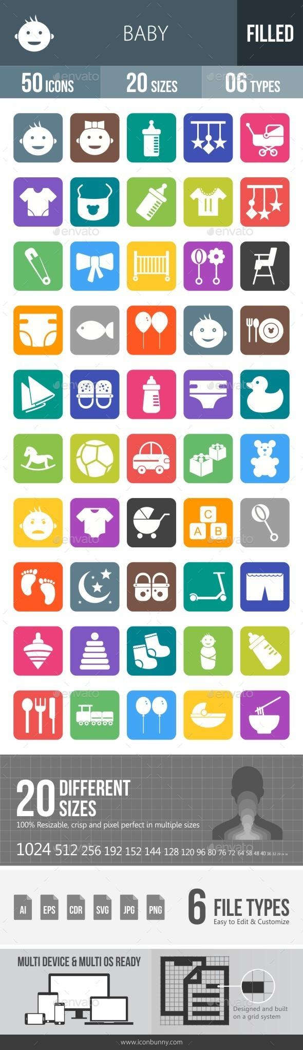 Baby Flat Round Corner Icons - Icons