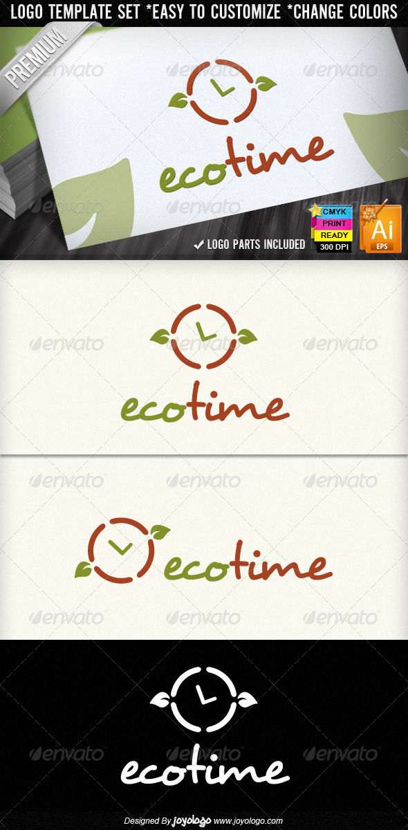 Eco Time Organic Leaf Ecology Logo Designs  - Nature Logo Templates
