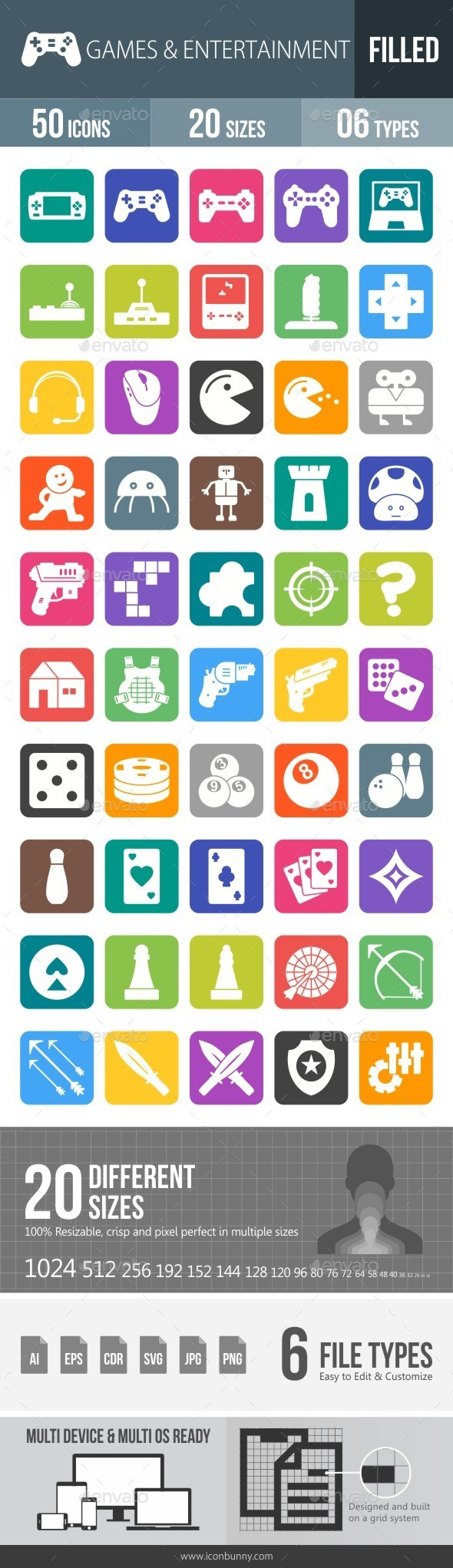 Games & Entertainment Flat Round Corner Icons - Icons