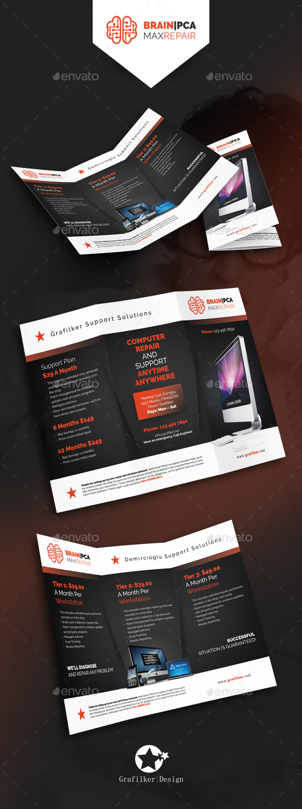 Computer Repair Tri-Fold Templates - Brochures Print Templates