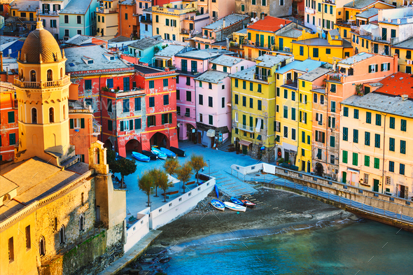 Vernazza village, church and buildings aerial view. Cinque Terre - Stock Photo - Images