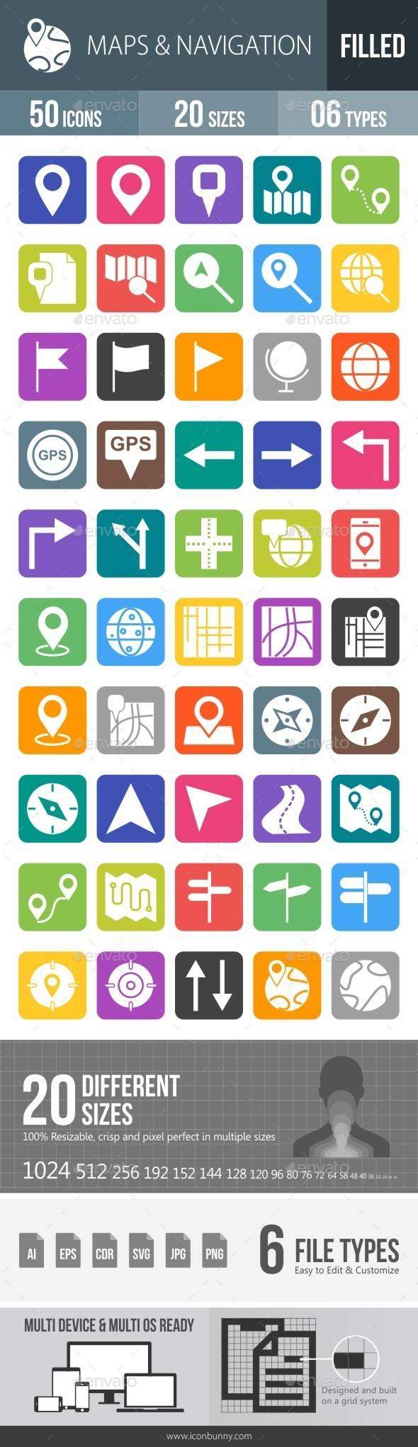 Maps & Navigation Flat Round Corner Icons - Icons