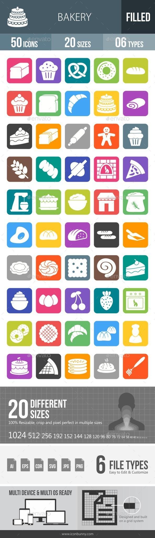 Bakery Flat Round Corner Icons - Icons