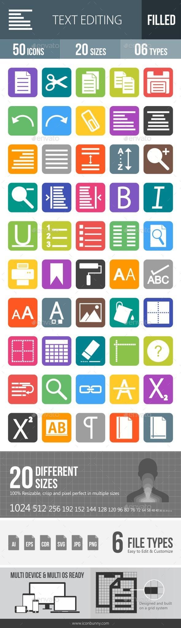 Text Editing Flat Round Corner Icons - Icons