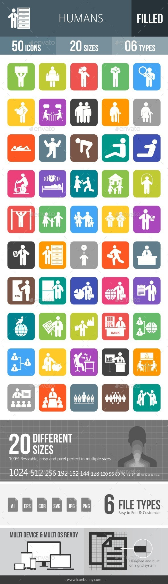 Humans Flat Round Corner Icons - Icons
