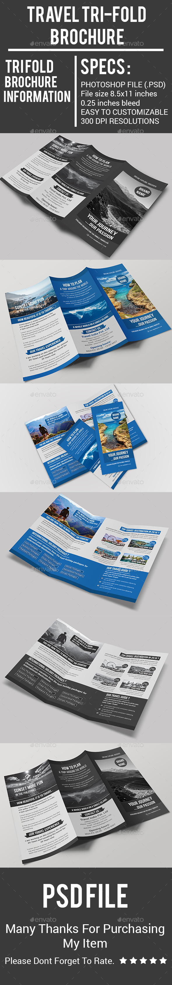Travel Tri-Fold Brochure - Corporate Brochures