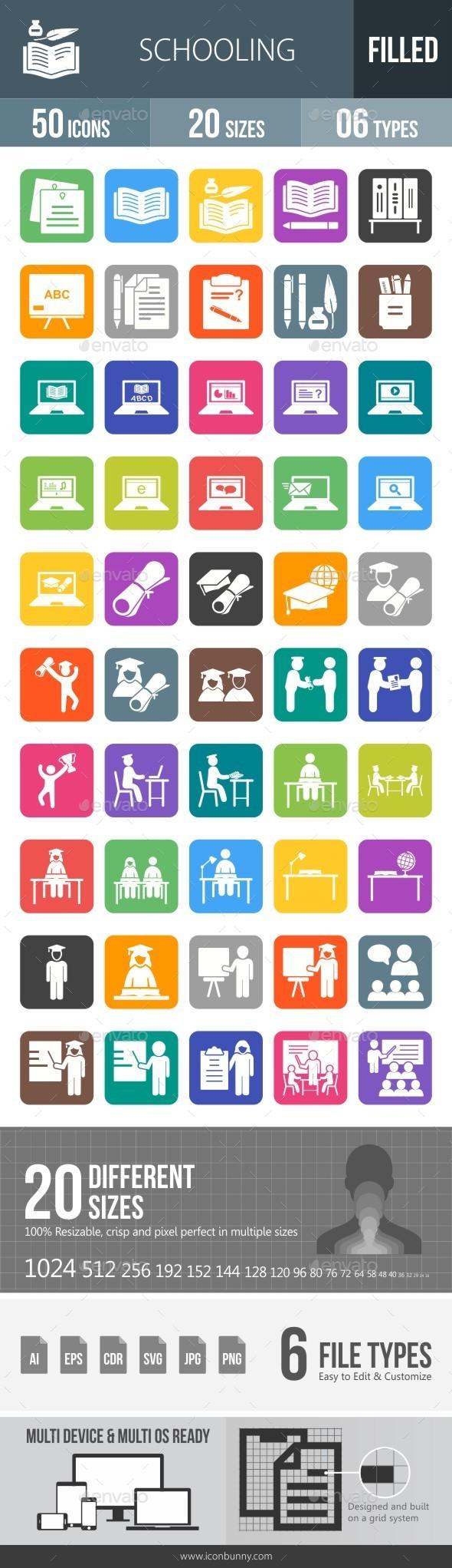 Schooling Flat Round Corner Icons - Icons