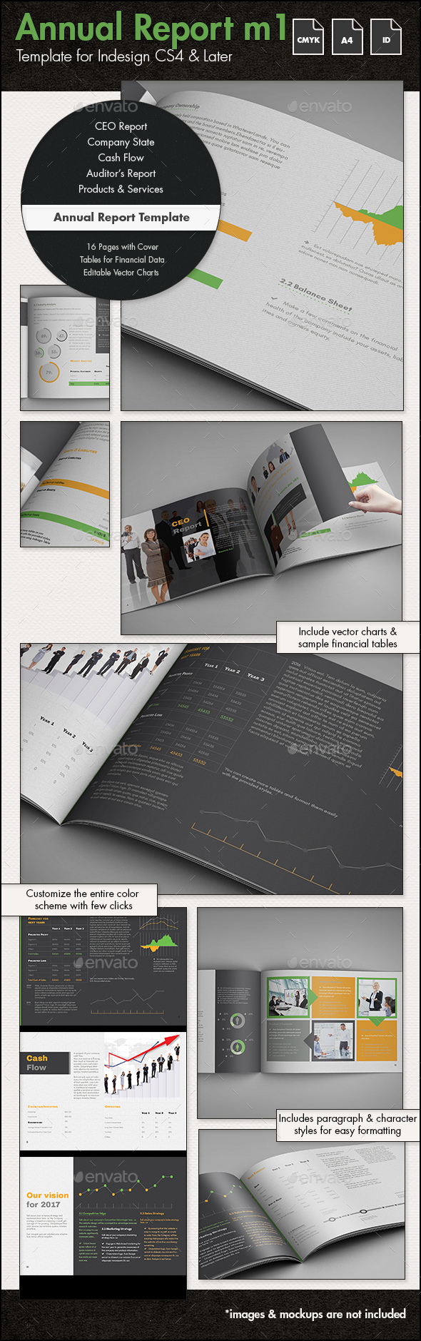 Annual Report Template m1 - A4 Landscape - Informational Brochures