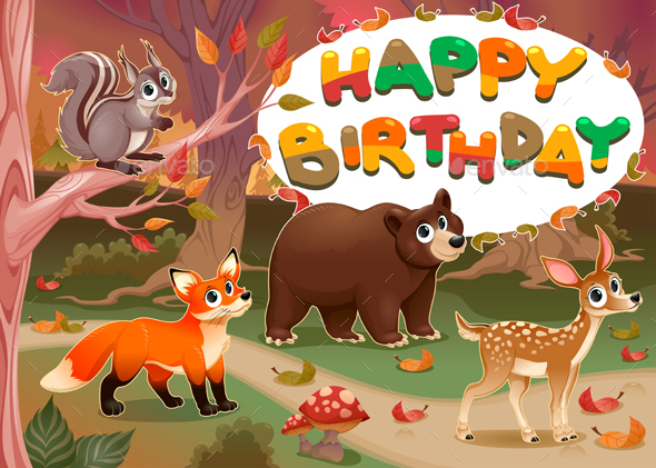 Happy Birthday Card with Wood Animals - Birthdays Seasons/Holidays
