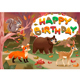 Happy Birthday Card with Wood Animals - GraphicRiver Item for Sale