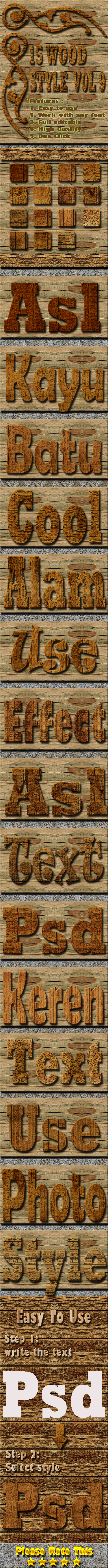 15 Wood Text Effect Style Vol 9 - Styles Photoshop