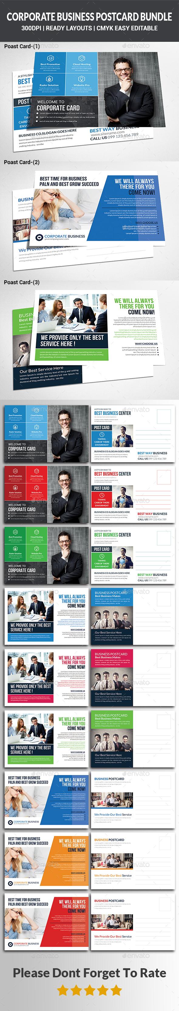 Company Postcard Bundle - Cards & Invites Print Templates