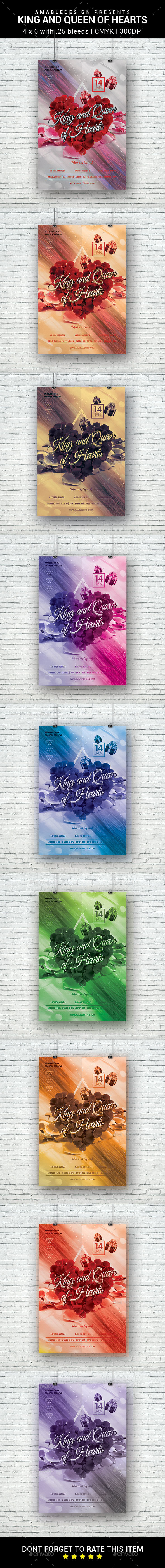 King and Queen of Hearts Flyer - Clubs & Parties Events