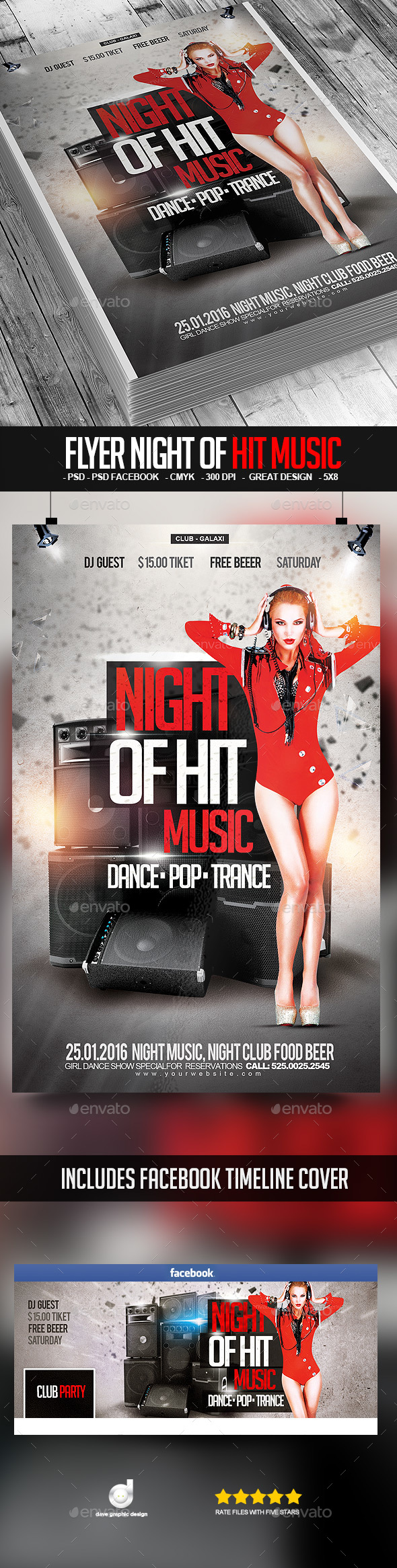 Flyer Night of Hit Music - Clubs & Parties Events