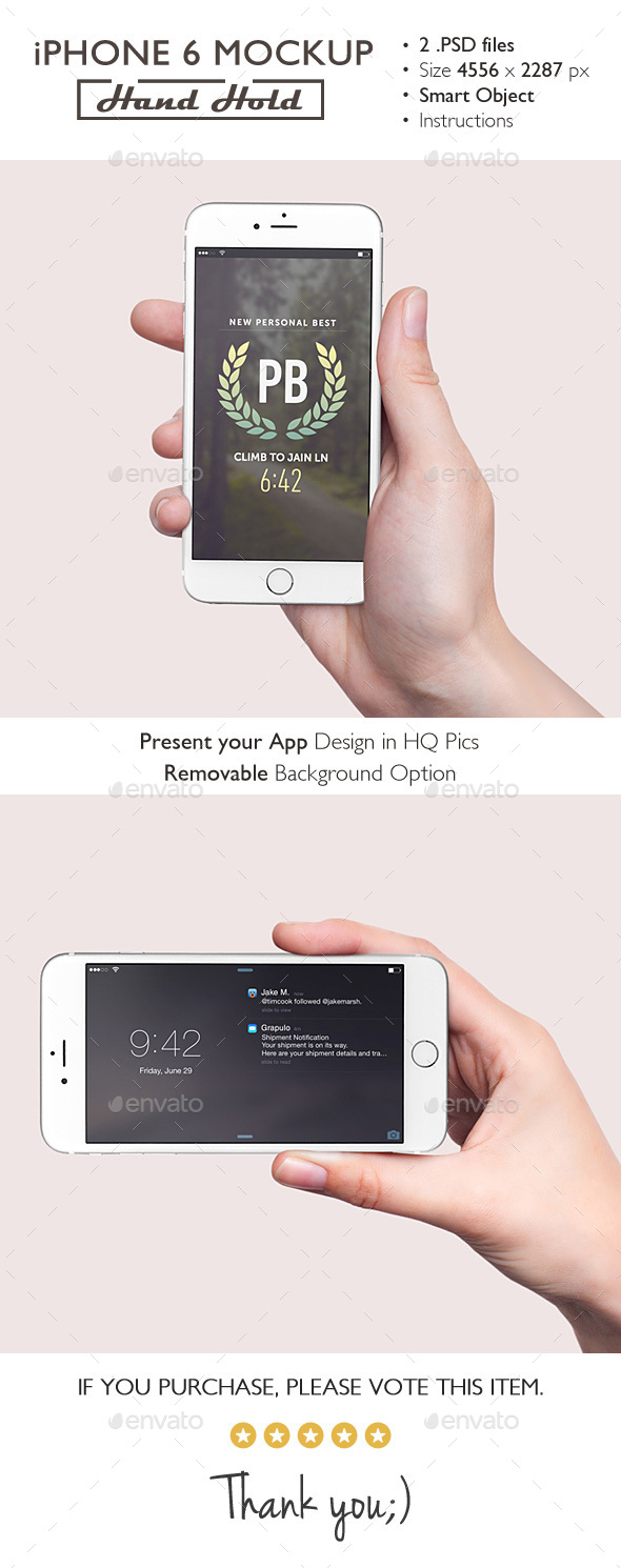 iPhone 6 Mockup Hand Hold - Product Mock-Ups Graphics