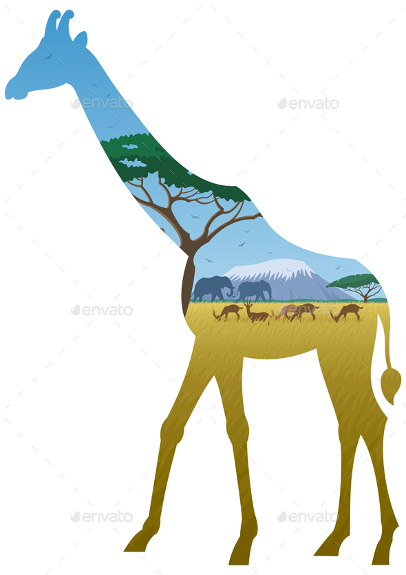 Giraffe Landscape - Landscapes Nature