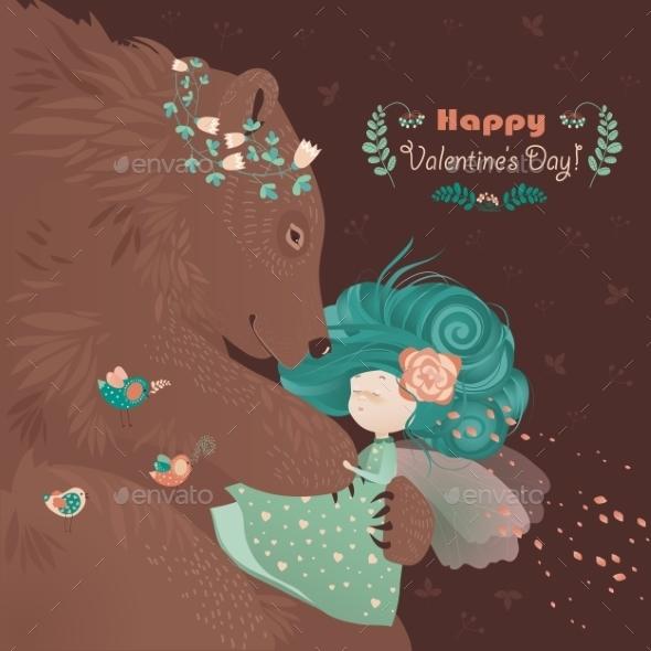 Bear Hugging Cute Girl - Animals Characters