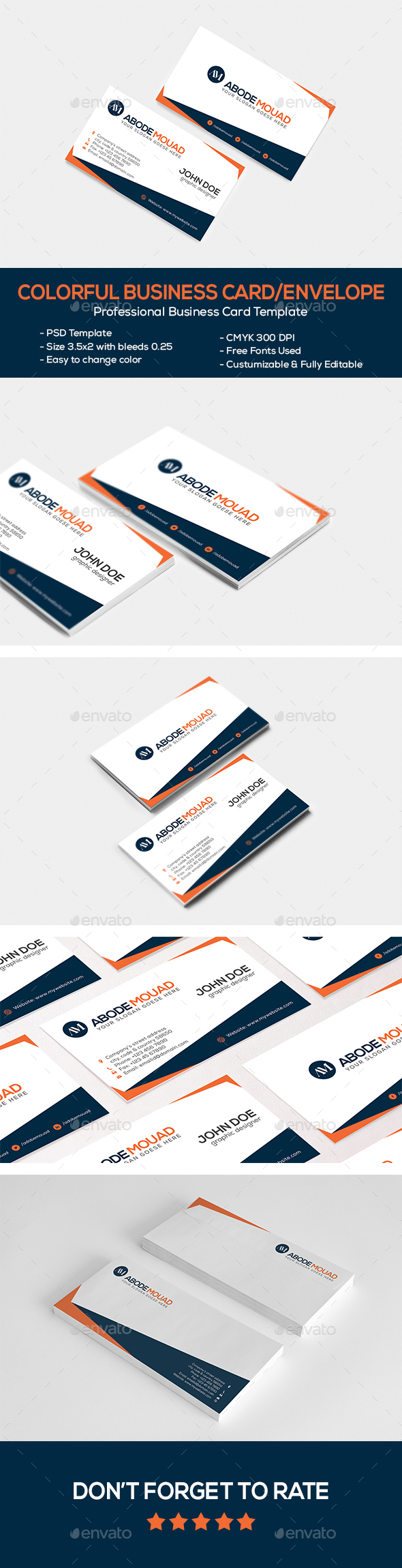 Colorful Business Card & Envelope Pack - Business Cards Print Templates