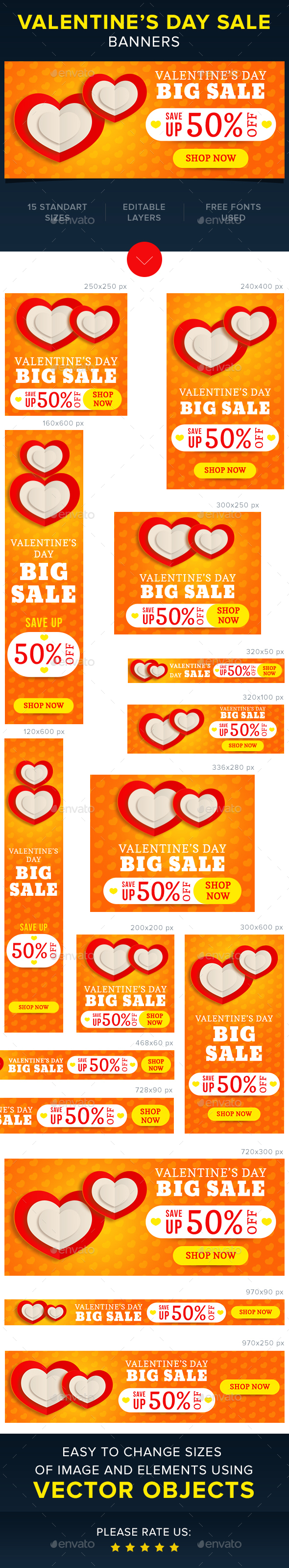 Valentine's Sale Banners - Banners & Ads Web Elements