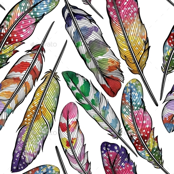 Seamless Pattern With Abstract Colorful Feathers - Backgrounds Decorative
