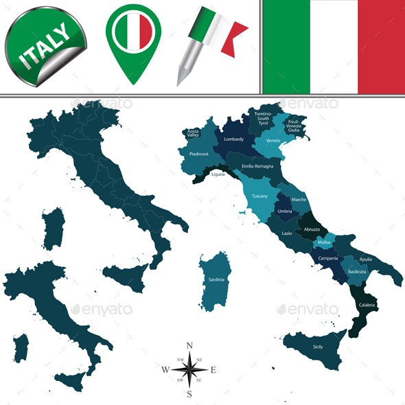 Map of Italy - Travel Conceptual